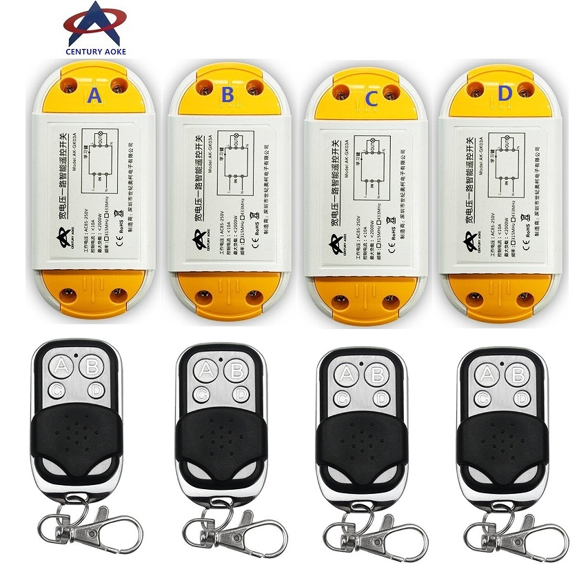 AC220V 110V 85-240V 1CH 10A RF Wireless Remote Control Switch System 4 A7 transmitter & 4 receiver Smart Home Switch 12pcs rf wireless 220v 10a 1ch remote control switch 4 receiver