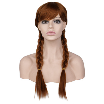 QQXCAIW Women Long Braids Cosplay Blonde Brown Blonde Elsa and Anna Wig High Temperature Fiber Synthetic Hair Wigs