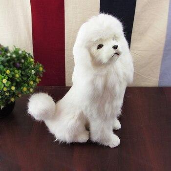 simulation dog poodle toy model squatting pose 25x13x33cm, plastic&fur white poodle handicraft,home decoration toy gift w5871