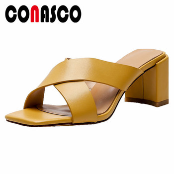 CONASCO Women Elegant New Brand Pumps Genuine Leather Square High Heels Concise Summer Sandals Shoes Woman Gladiator Slippers