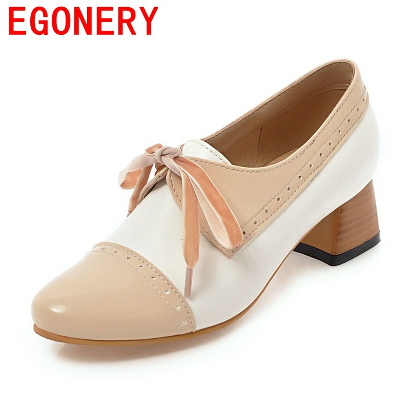 EGONERY women good quality shoes mid heel woman good quality round toe heels ladies spring autumn black brown retro style heels цены онлайн