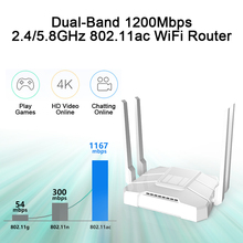 1200Mbps Wireless Wifi Router Dual band 2.4G/5G 1 WAN+ 4LAN Gigabit Ports 4*5 dbi Antenna 802.11AC High Speed Band