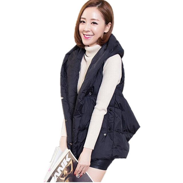 Corea 2017 nueva primavera de tamaño más de las mujeres con capucha negro rojo MZ730 personalidad irregular de algodón caliente abajo chaleco chaleco femenino