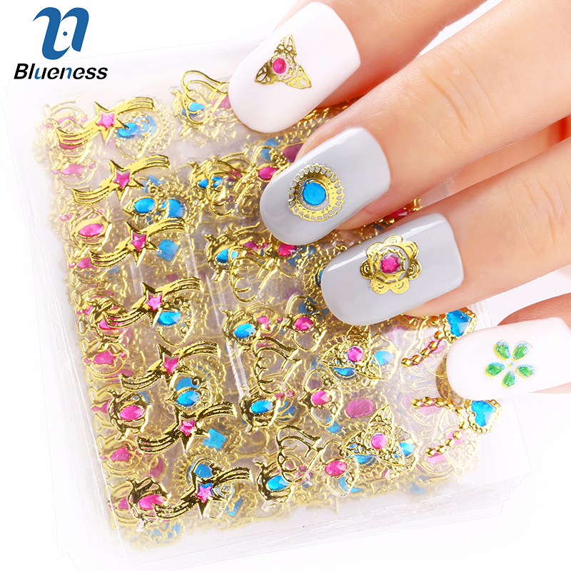 24 Pcs/Lot Beauty 3D Bronzing Cross Designs Nail Art Stickers Manicure Stamping Decals DIY Decorations Tools For Nails JH139 24pcs lot 3d nail stickers beauty summer styles design nail art charms manicure bronzing vintage decals decorations tools jh151
