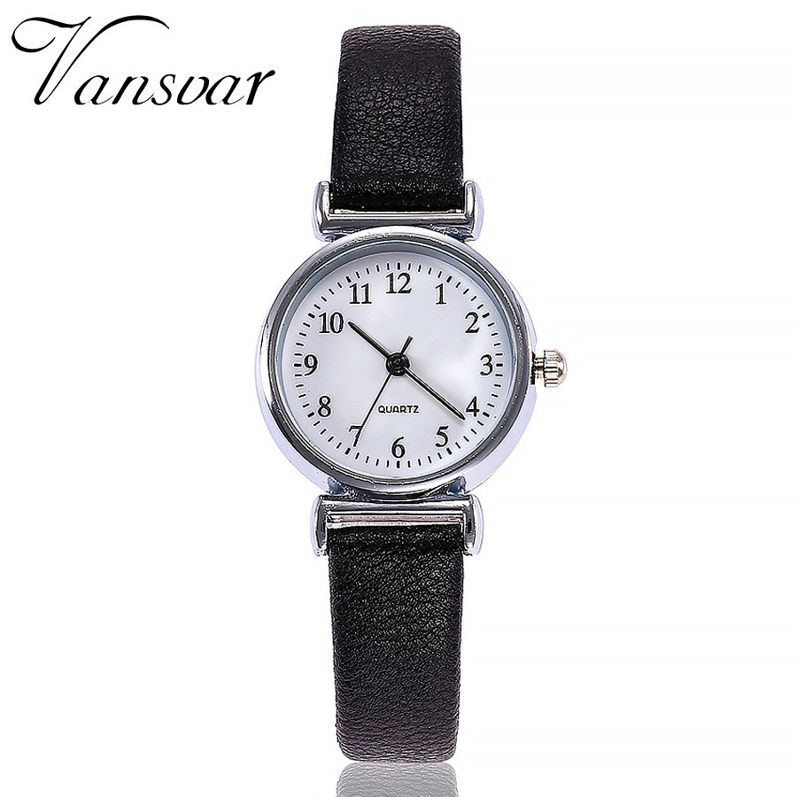 VANSVAR Ladies Watch Exquisite Small Simple Women Dress Watches Retro Leather Quartz Watch Female Wristwatches Bracelet L58(China)
