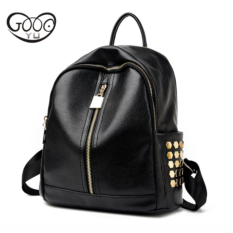 GOOG YU leather backpack women luxury brand shoulder bags simple solid color Exquisite hardware rivets