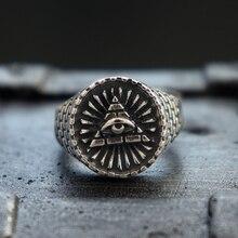Retro Mens Eye of Providence Freemasons Stainless Steel Ring All Seeing Masonic Biker Rings Jewelry