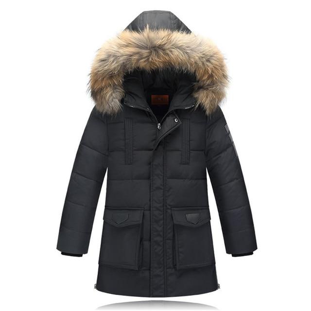 Мальчики Зимние пальто Дети Снег Верхняя Одежда Утка вниз Парки 130-170 см Детские Пальто Детей Дополняется Pakars Зима Куртки