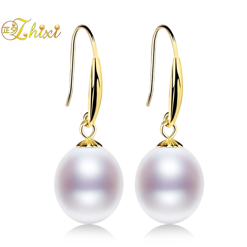 ZHIXI Genuine 18K Gold Jewelry Natural Pearl Earrings For Women White Real Fresh water Pearl Drop Earrings Classic Gift ZXE235 pair of sweet rhinestone faux pearl water drop earrings for women