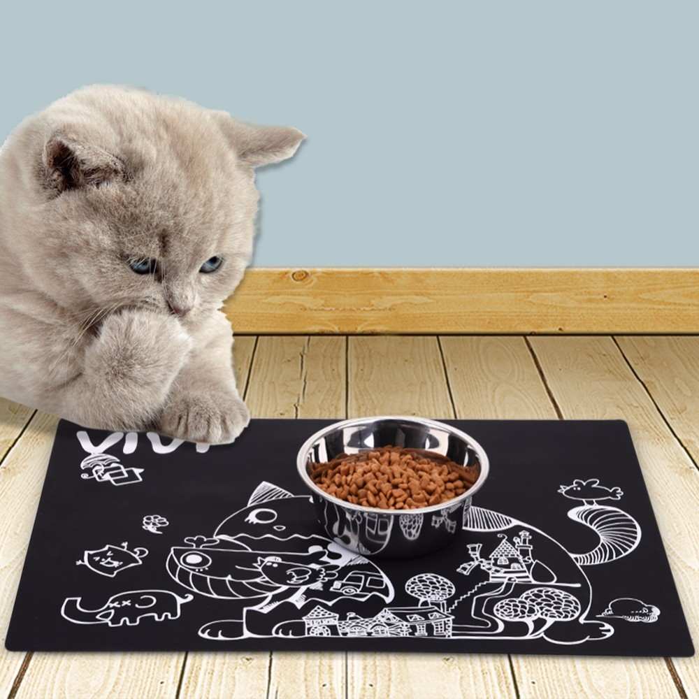 pad mat dish feeding cute easy cleaning cat mats products wipe feed puppy claw bowl blanket water food pvc bed table placemat pet dog