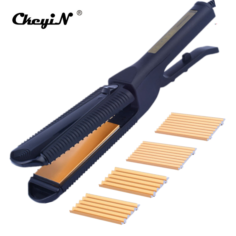 CkeyiN Professional Electric Hair Straightener Corn Curling Iron Titanium Plate Fast Straight Hair Corn Waver Corrugated Iron 30 lole капри lsw1349 lively capris xs blue corn