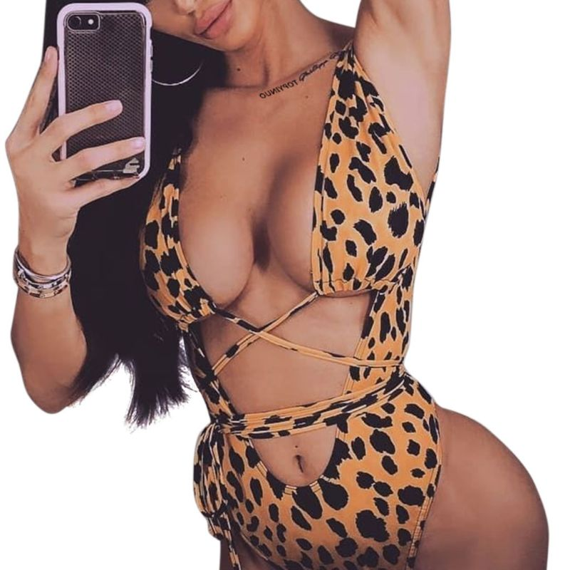 Honest Womens Sexy Swimwear Bikini Deep Plunging V-neck Padded Monokini Leopard Printed Criss Cross Lace Up Bandage Swimsuit Backless Curing Cough And Facilitating Expectoration And Relieving Hoarseness Swimwear