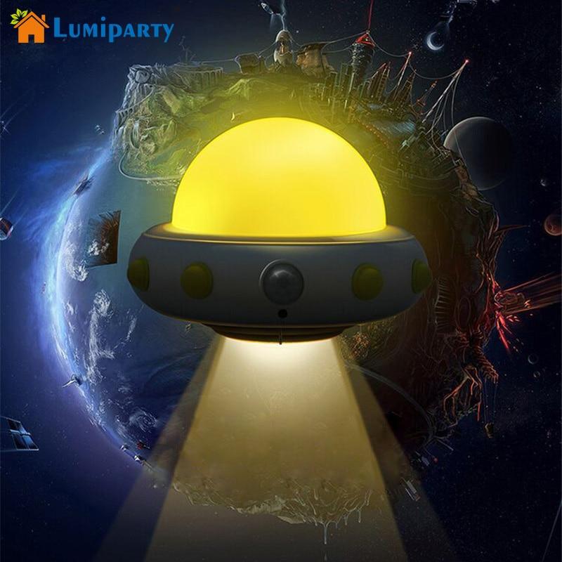 Lumiparty USB Charging LED Motion Sensor UFO Night Light Rechargeable Sensor Lamps Soft Brightness for Kids Baby Nursery Bedroom