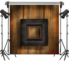 LB Polyester & Vinyl Retro Interior Vintage Black Wooden Picture Frame Backgrounds For Photo Studio Photography Backdrops Decor(China)
