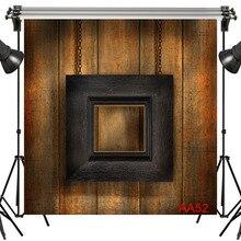 LB poliéster y vinilo Retro Interior Vintage negro marco de madera foto fondos para foto estudio fotografía decoración de fondo