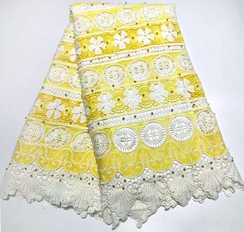 African lace fabric 2019 High Quality Tulle Lace Fabric White+Yellow Water soluble Guipure Lace For wedding dress sewingAfrican lace fabric 2019 High Quality Tulle Lace Fabric White+Yellow Water soluble Guipure Lace For wedding dress sewing