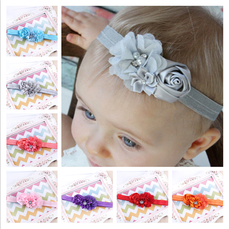 1PC 2017 New Arrive Headband hair Accessories Newborn Diamond Rose Flower Chiffon Headband Retail W040