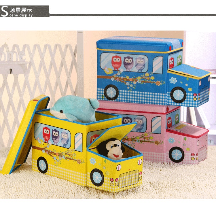 New Safari Bus Kids Folding Storage Bin Toy Box Clothes: Multifunctional Cartoon Bus Folding Storage Box Non Woven