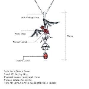 Image 5 - GEMS バレエ 925 スリヴァーバット形状ナチュラルガーネットヴィンテージゴシックパンクペンダントネックレス女性のパーティージュエリーについて