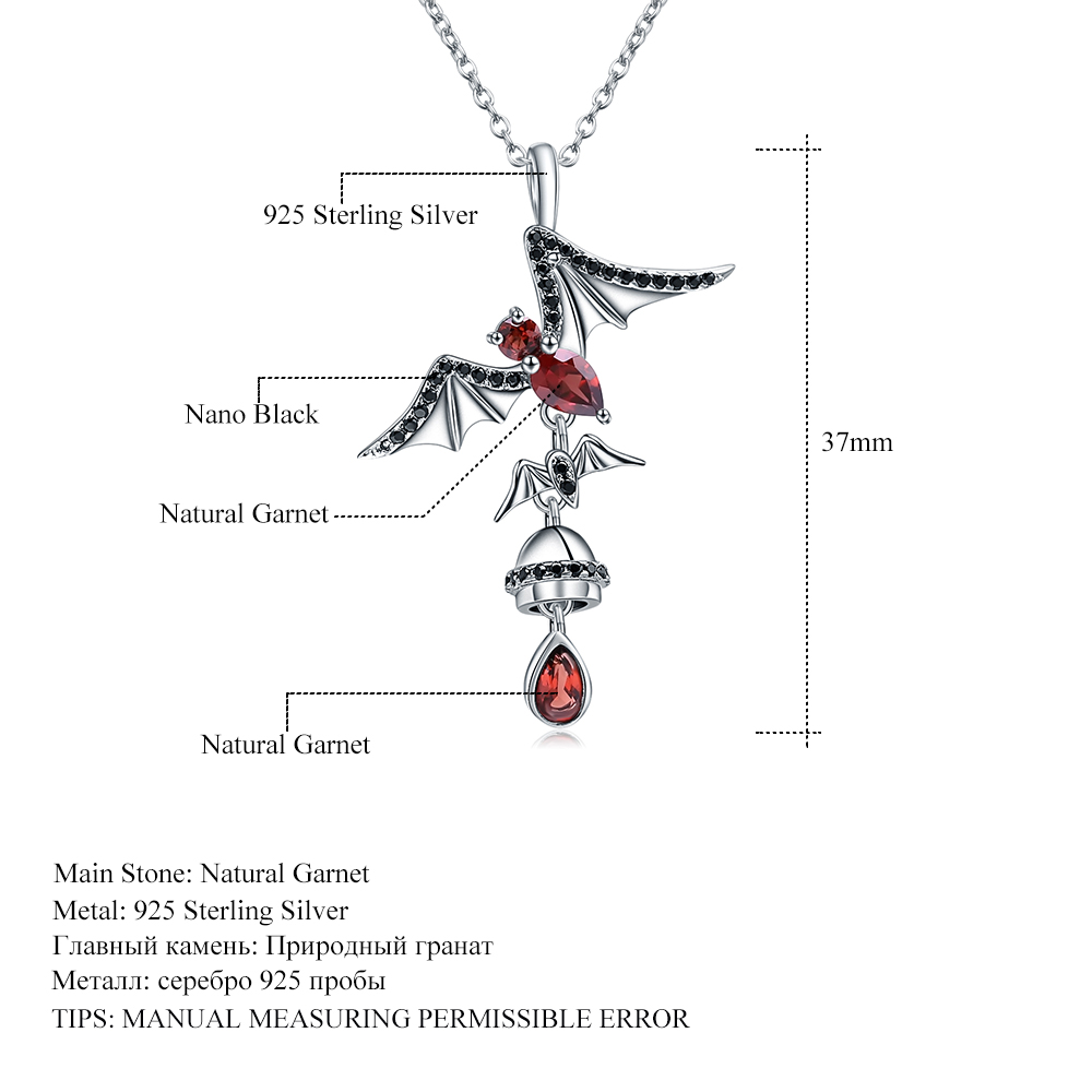 Image 5 - GEMS BALLET 925 Sterling Sliver Bat Shape Natural Garnet 