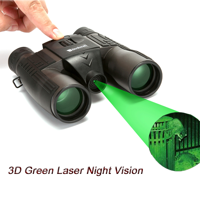 10x32 Day And Night Vision Binoculars Built-in Green Laser Light No Infrared Bak4 Roof 3D Night Field Camp Vision Telescope бинокль bushnell powerview roof 10x32