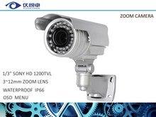 С переменным фокусным расстоянием Камеры Безопасности 1/3 «SONY 1200TVL Cctv Камеры Зум-Объектив 3-12 мм OSD Камеры Видеонаблюдения DVR W20-12