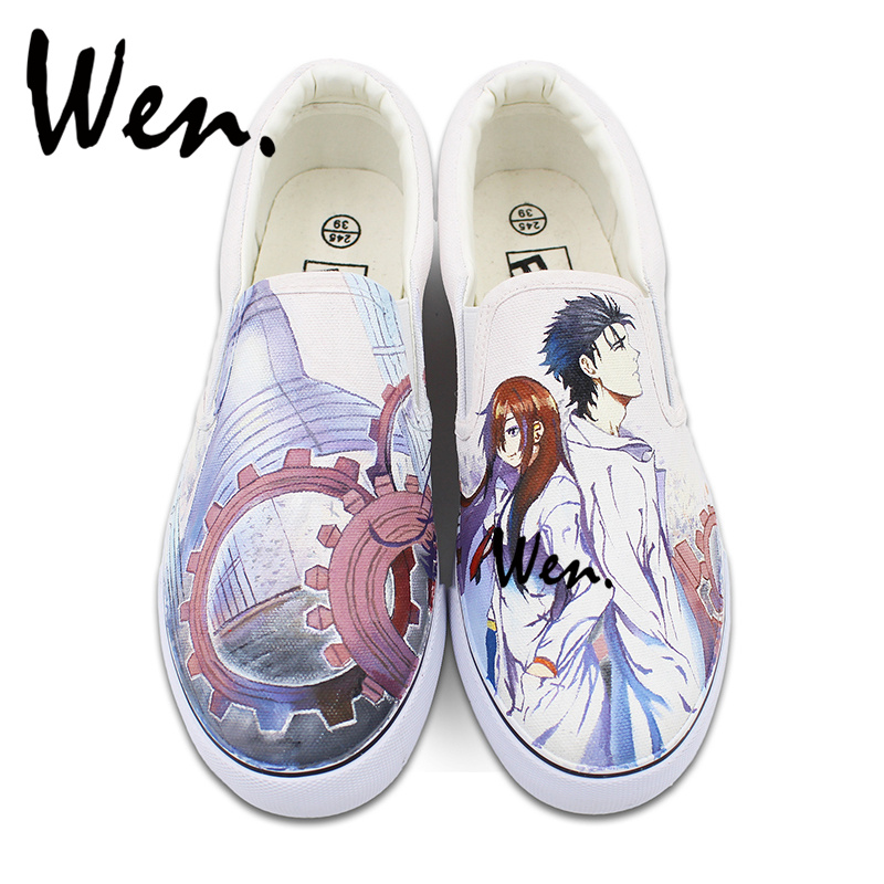 Wen Custom Design Hand Painted Shoes Slip on Style Anime STEINS;GATE Canvas Sneakers for Man Woman Gifts wen original hand painted canvas shoes space galaxy tardis doctor who man woman s high top canvas sneakers girls boys gifts