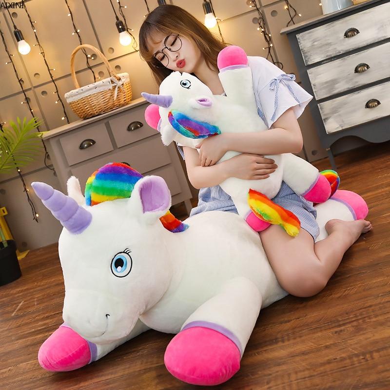40-100cm Unicorn Plush Toy Cute Rainbow Horse Soft Doll Unicorn Stuffed Animal Soft Pillow Toys For Children Gift For Girlfriend