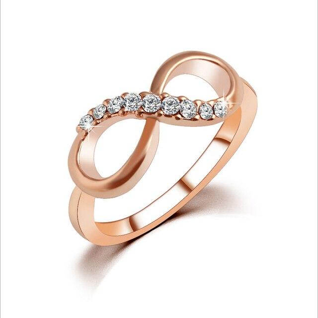 Stylish 8 Shaped Fashion Women Ring Finger Jewelry Rose Gold Color Rhinestone Cr