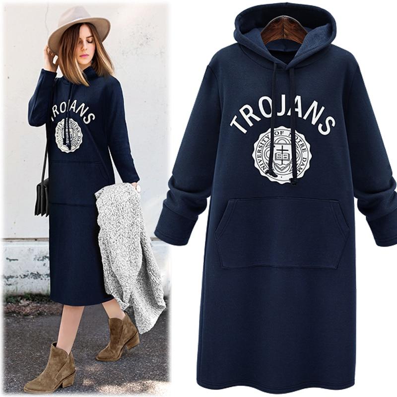 New 2016 Autumn Winter Women Hoodies Slim Plus Thick Velvet Sweatshirt Dress Pullover Long Hoodie Plus size
