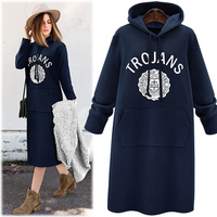 New 2016 Autumn Winter Women Hoodies Slim Plus Thick Velvet Sweatshirt Dress Pullover Long Hoodie Plus size