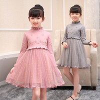 Toddler girl sweater dress long sleeve knitted woolen pleated fashion clothes birthday party beautiful princess holiday dress