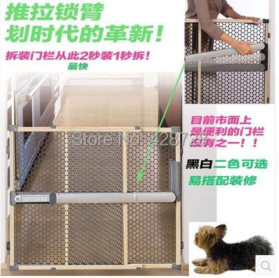 Madera maciza de instalación rápida ultra puerta no necesita agujero de excavación de moda del niño del bebé de seguridad del animal doméstico 67 ~ 106 cm sin necesidad de extensión