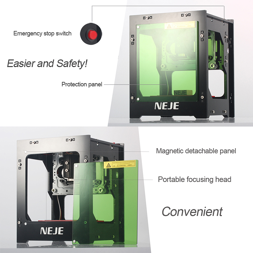 NEJE 2019 hot selling new 1500mw 405nm Ai laser engraver Wood Router DIY Desktop Laser Cutter Printer Engraver Cutting Machine 4
