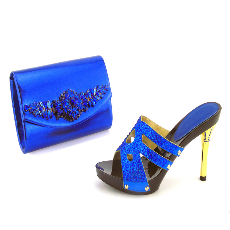 505-7 Royal Blue Latest Design African Sandals Shoes Matching Bag Top Quality Italian Shoes And Bag Set  Free Shipping free shipping newest shoes matching bags royal blue italian designer shoes and bags ct16 06
