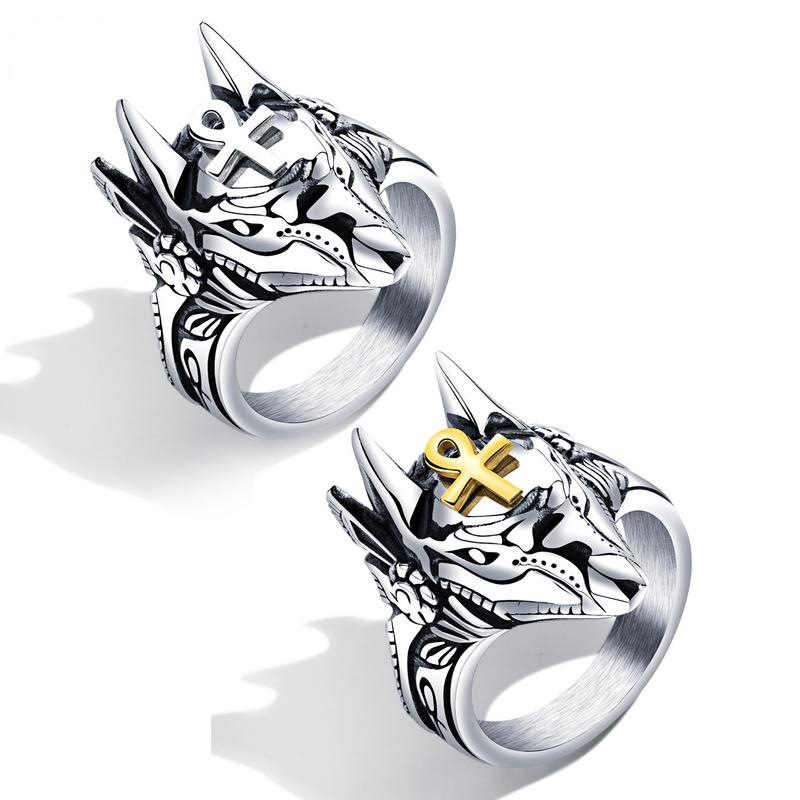 New Domineering Creative Stainless Steel Men's Ring Wolf Head White/Gold Color Cross Punk Finger Jewelry