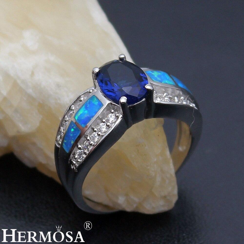 Большая Акция Шарм Одежда высшего качества натуральный австралийский опал синий Sapphire925 серебро обещание кольцо Размеры 7 DF72