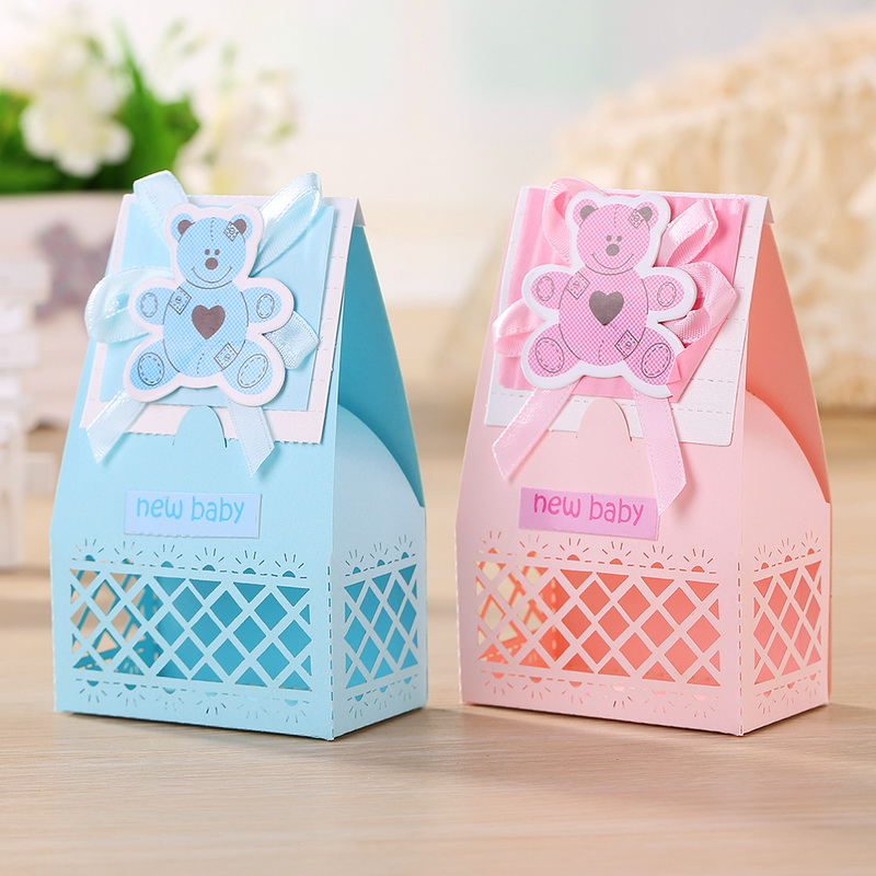 12pcs/lot Pink And Blue Cute Baby Favors Boxes For Baptism