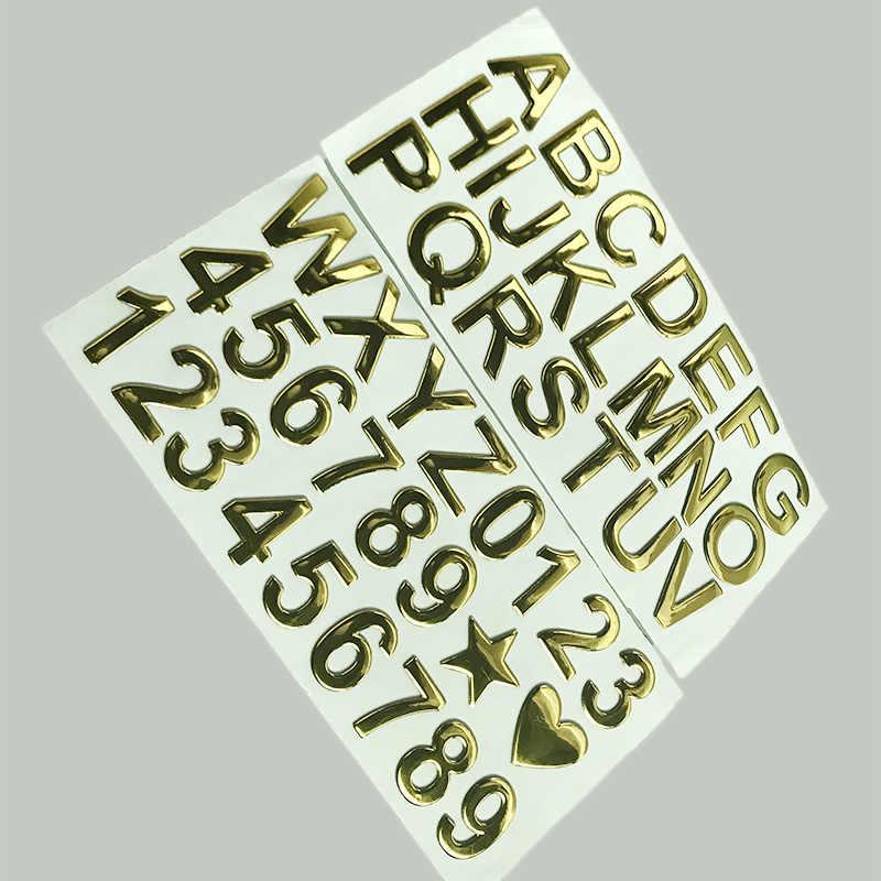 3D Resina Gel Número Árabe Inglês Carta Digital Adesivos carro Styling DIY Palavra LOGOTIPO Do Emblema Decoração 28mm Altura Endereço número