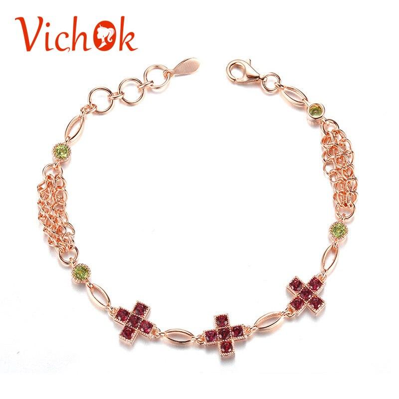 VICHOK Nature pierre grenat péridot 925 Bracelet en argent Sterling chaîne lien réglable Bracelets pour dames bijoux fins pulseira