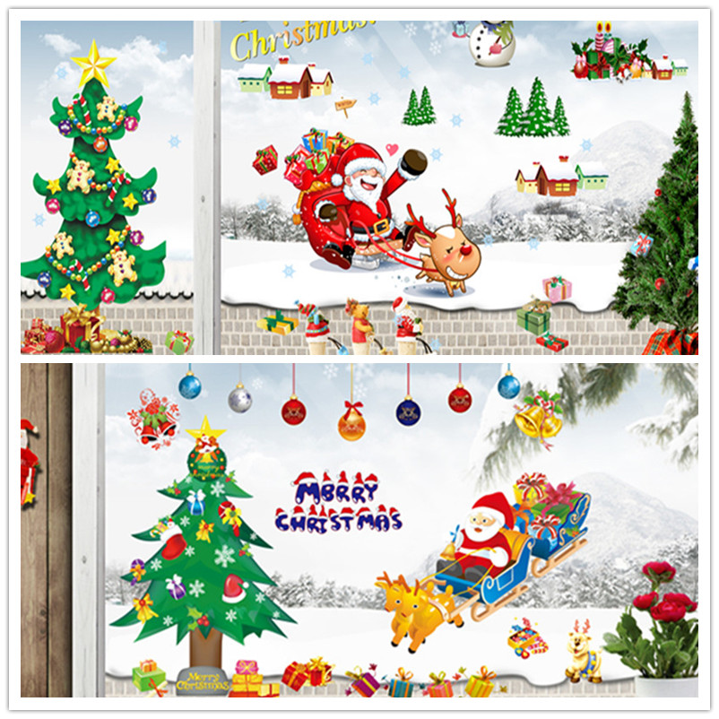 Cartoon DIY Gift Wall Sticker Merry Chirstmas Festival Santa Claus Tree Snowflake Window Party Wall Decals Home Decor Kids Rooms