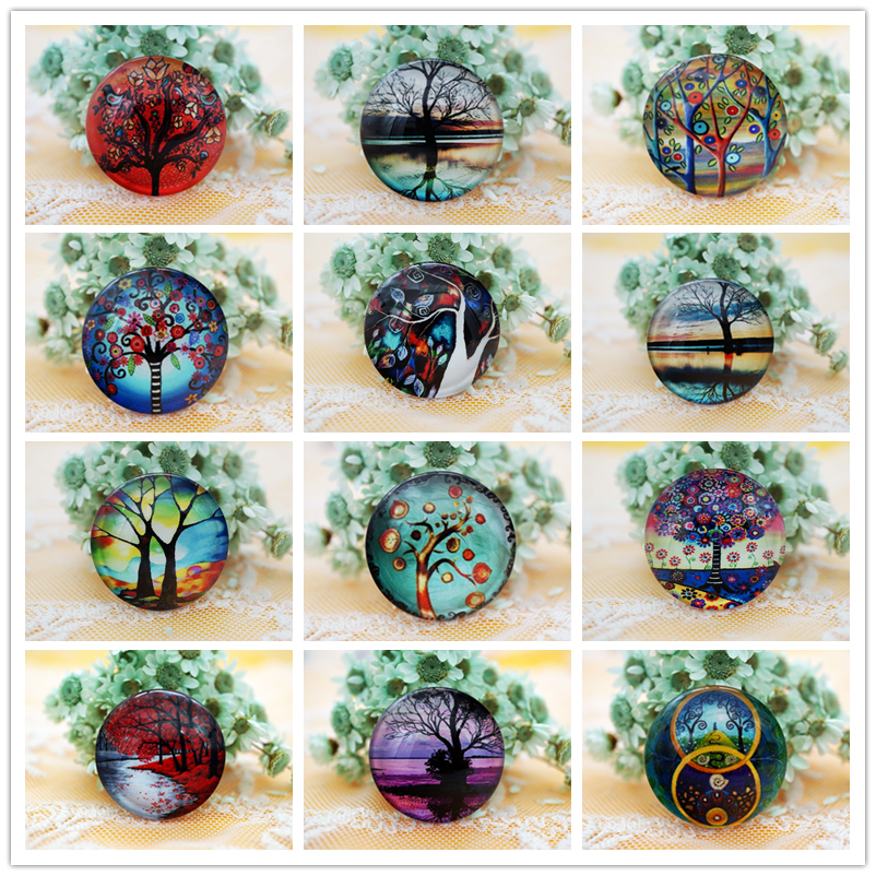 10PCS/lot Round 8-20MM Tree Glass Cabochon for charms key chain Jewelry Supply women's earring dangle earring for necklace pins