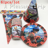 61pcs Lot Party Table Decoration Cardboard Cups Cartoon Animals Miraculous Ladybug Party Baby Supplies Festive Party