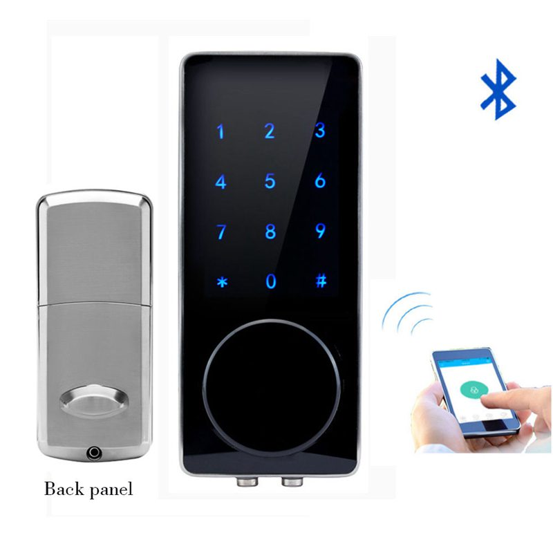 Silver Zinc Alloy Home Smart Bluetooth Electronic Press Screen Code Password Lock Deadbolt Door Lock Unlock By App Code KeySilver Zinc Alloy Home Smart Bluetooth Electronic Press Screen Code Password Lock Deadbolt Door Lock Unlock By App Code Key