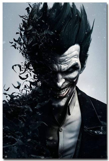 Плакат гобелен шелковый Джокер Бэтмен Аркхем Сити арт