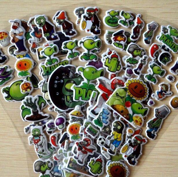 2018 6pcs PVZ Plants Vs Zombies Stickers 3D Cartoon Classic Toys Waterpoof DIY Baby Toys For Children Kids Boy Girl Hot