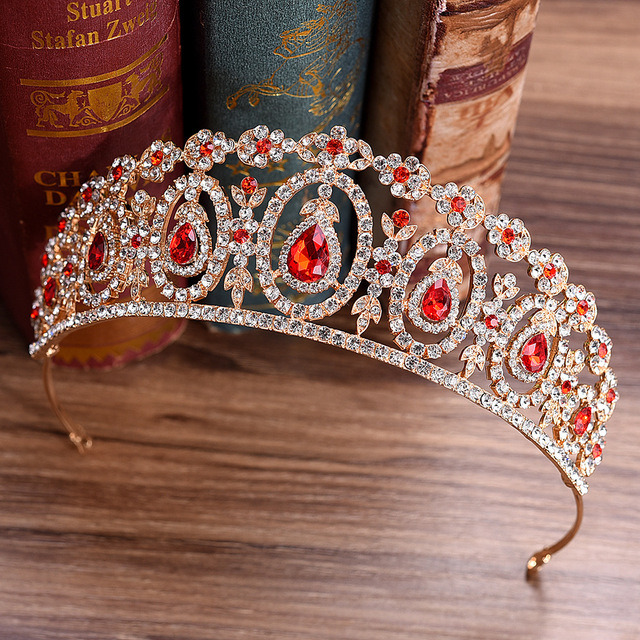 DIEZI 5 Colors Baroque Gold Bridal Crown For Wedding Hair Accessories Red Blue Green Crystal Crowns Tiaras Diadem Headbands