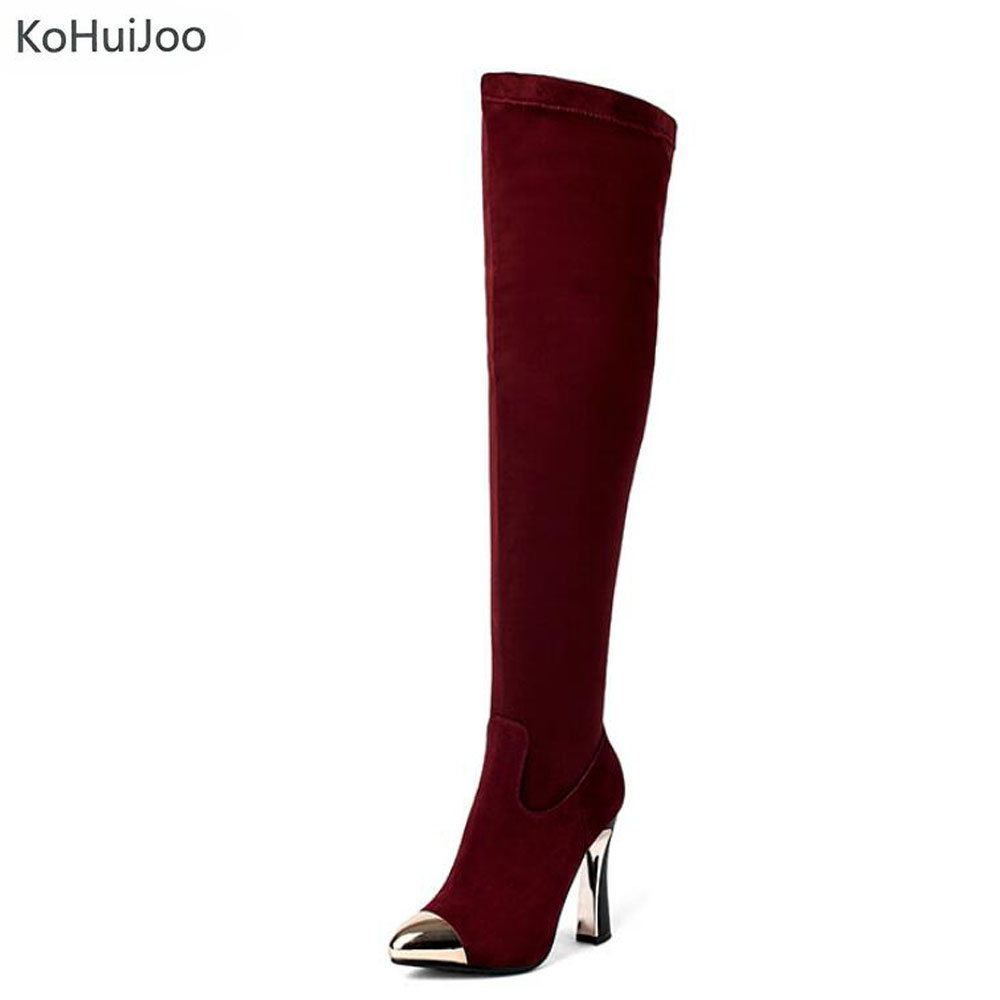 KoHuiJoo 2018 Autumn Winter Super High Heel Boots Women Sexy Over the Knee Boots Zipper Stretch Genuine Leather Thigh Boots