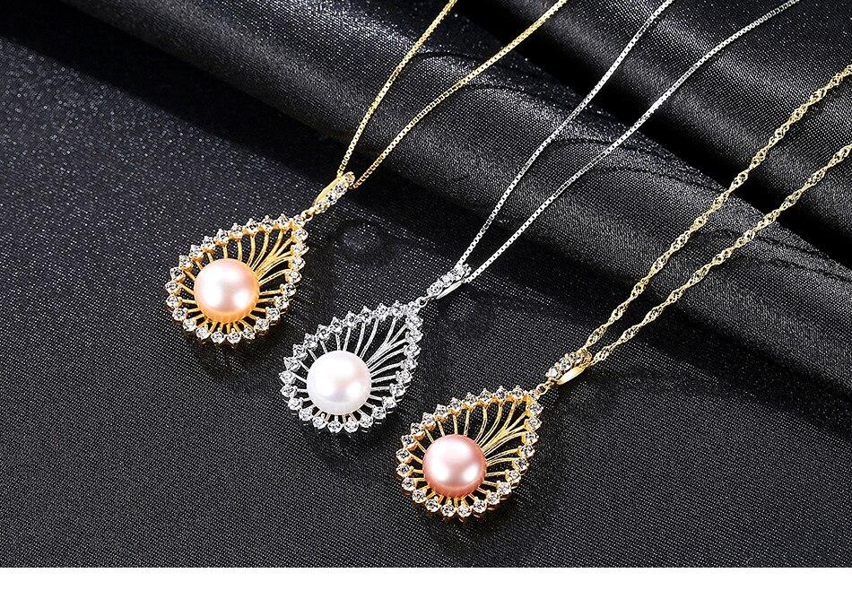 Collier femme perle deau douce naturelle avec collier en argent sterling zircon 3A femme BLT02Collier femme perle deau douce naturelle avec collier en argent sterling zircon 3A femme BLT02