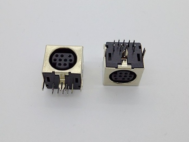 Pcb mount 9 position female s jack video mini din sockets connector pcb mount 9 position female s jack video mini din sockets connector shield right angle dip publicscrutiny Image collections